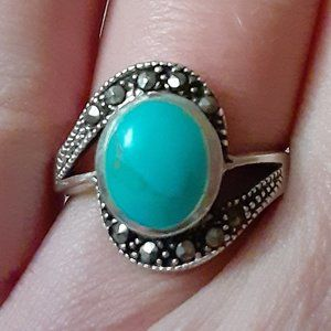 Faux turquoise and Marcasite sterling silver ring